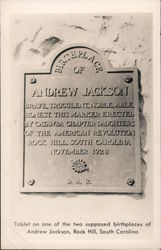 Andrew Jackson birthplace tablet November 1928 Postcard