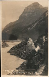 Mt. Stephen and Train Through Kicking Horse River Valley Postcard