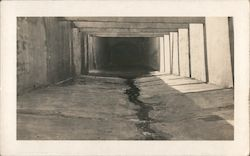 Black and White Photo Empty Cement Garage Eerie Postcard