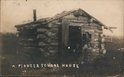 Pioneer School House - Log Cabin with Sod Roof Postcard