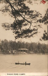 Canoeing, Togue Pond Camps, Piscataquis County Postcard