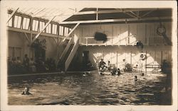 Indoor Swimming Pool with swimmers and spectators Postcard