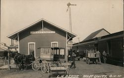 C. N. Depot, Horse Drawn Stage Postcard