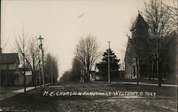 M.E. Church and Parsonage Postcard
