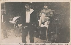 Man in Military Apparel Being Pulled in a Rickshaw Postcard
