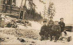 Group of Men - Hunters/Loggers in Winter Postcard