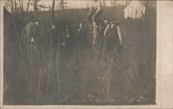 Workers with Barrels in Field Postcard