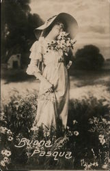Buona Pasqua - Woman in Field of Wild Flowers Postcard
