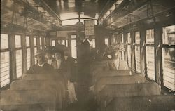 Group on Train or Trolley, 1910 Postcard