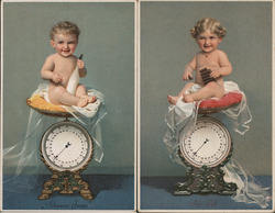 Set of 2: Baby Boy and Girl on Scale Postcard