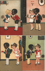 Set of 4: French Black Boy Butler & White Girl Maid Flow in Dark Children Rare