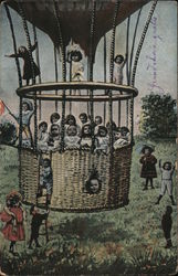 Hot Air Balloon Full of Babies Ready for Take Off Postcard