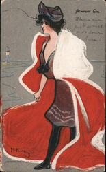 Newport Girl, Woman in Red Cape Postcard