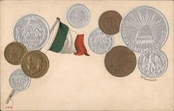 Mexican flag and various Mexican coins on off-white background Postcard