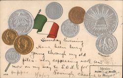 Mexican Coins and Flag Postcard