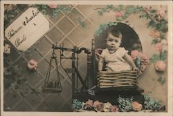 Baby in Basket being Weighed on a Scale Postcard