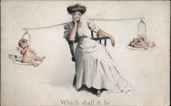Woman With Imaginary Scale - Balancing Baby or Money - Which Shall It Be? Postcard