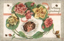 Birthday Greetings -- Roses and Child Postcard