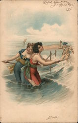 Man Spying on Two Women Swimming Postcard