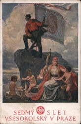 Man standing on a rock with large flag and gun while his family plays Postcard