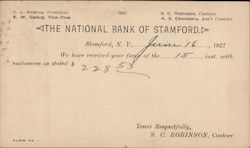 The National Bank of Stamford, Bank Transfer Postcard