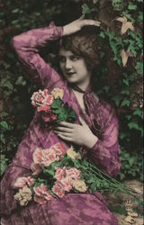 Woman in Purple and Pink Dress with Flowers Postcard