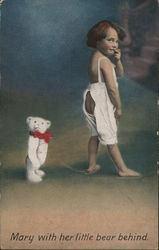 Mary With Her Little Bear Behind - Play on Words, Little Girl with Teddy Bear Postcard