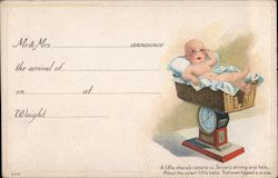 Birth Announcement, Name, Date, Time, Weight - Baby on a Scale Postcard