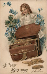 A Happy Birthday, Coin Purse and Girl Postcard