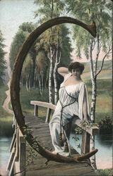 Letter C with Woman on Bridge Postcard