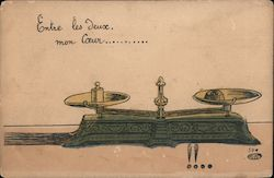French postcard with measuring scales and a romantic sentiment Postcard