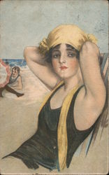 Art Deco Woman with Yellow Swimming Cap Postcard