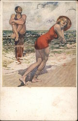 Woman with Red Swimsuit on the Beach Postcard