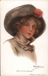Ready for the Meeting, Woman in Fur Hat Postcard