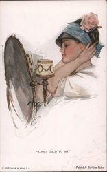 Looks Good to Me - Girl with Mirror Admiring a Hat, Harrison Fisher Postcard