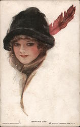 Tempting Lips, Woman in Hat with Feather Postcard