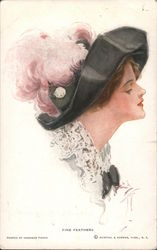 Fine Feathers - Woman in Slouch Hat With Pink Ostrich Feathers Postcard