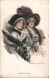 A Passing Glance - Two high-society ladies with toy dog Postcard