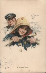 A Helping Hand, Woman Rowing a Boat Postcard