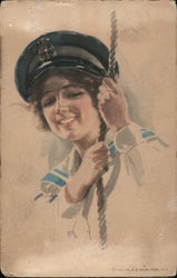 Woman in Sailor Outfit Holding on to a Rope Postcard