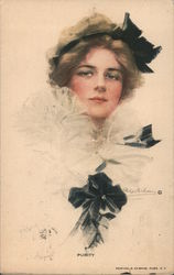 A Woman in a White Blouse and Black Headband Postcard