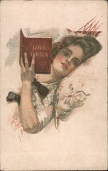 Love Lyrics: Woman reading in bed Postcard