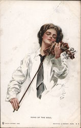 Song of the Soul - Woman Playing Violin - Harrison Fisher Postcard