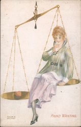 Found Wanting, Woman Sitting on a Scale Postcard