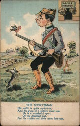 The Sportsman, Cartoon of Man with Hunting Rifle Postcard