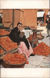 Woman with Baby Selling Oranges Postcard