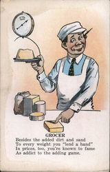 Grocer, Grocer using a Scale Postcard