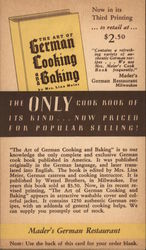 Advertising Card - Mader's German Restaurant - The Art of German Cooking and Baking Cookbook Postcard