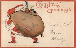 Christmas Greetings - Santa Claus with Toy Sack