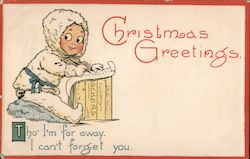 Christmas Greetings -- Child Dressed as Eskimo Writing a Letter